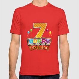 Kids Happy 7th Birthday Kids Bday Party T-shirt