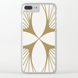 Diamond Series Floral Diamond Gold on White Clear iPhone Case