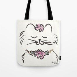 Pretty Cat Pink Rose Collar brush drawing Tote Bag