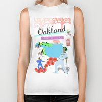 oakland Biker Tanks featuring Oakland by June Chang Studio
