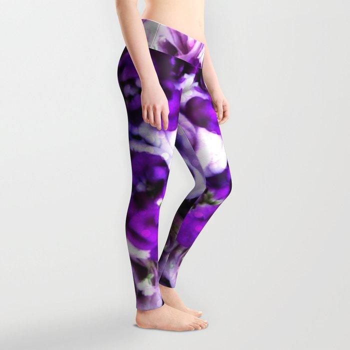 purple pink flowers Leggings