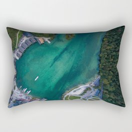 königssee waterfall alps bayern forrest drone aerial shot nature boat mountains panorama vertical Rectangular Pillow