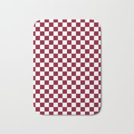 White and Burgundy Red Checkerboard Bath Mat