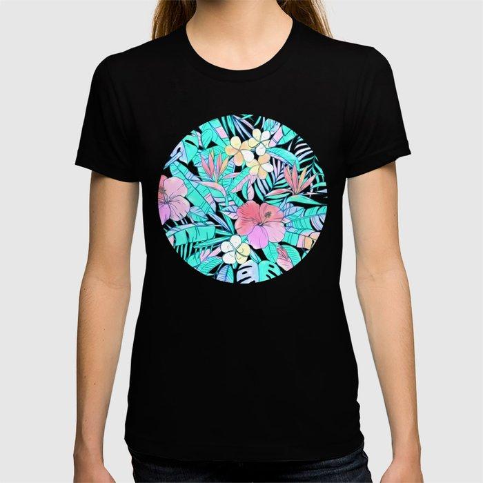 Pretty Pastel Hawaiian Hibiscus Print T-shirt