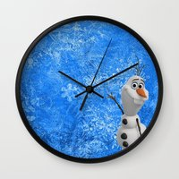olaf Wall Clocks featuring Olaf by Maggie Jane Photography