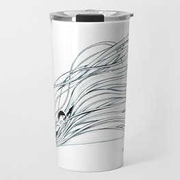 'Snowboader in Ribbons of Snow I' Travel Mug
