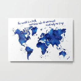 The world is a book, world map in shades of blue watercolor Metal Print
