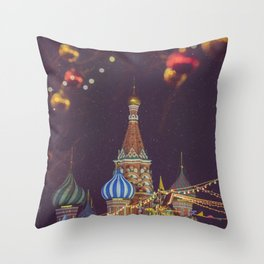 Red Square in Christmas and New Year celebration in Moscow, Russia Throw Pillow