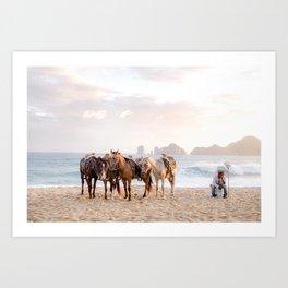 Horses and a horseman Art Print