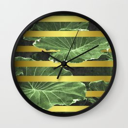 Green Leaves and Gold Stripes Wall Clock