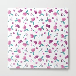 Beautiful Cute Flowers Pattern Print Metal Print