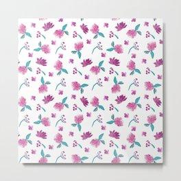Beautiful Cute Flowers Pattern Print Metal Print