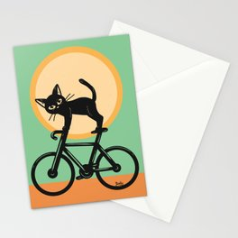 Cat loves a bike Stationery Cards