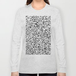 Black and White Dalmatian Pattern Dots Terrazzo Print Long Sleeve T-shirt