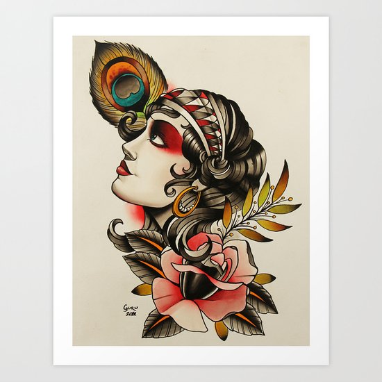 Gipsy girl - tattoo Art Print