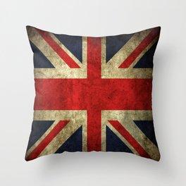 GRUNGY BRITISH UNION JACK  DESIGN ART Throw Pillow