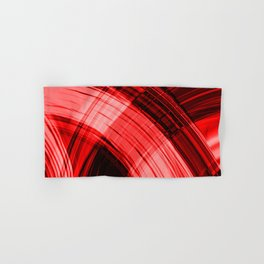 Iridescent pillars of scarlet curtains of flowing lines hanging down on velvet fabric. Hand & Bath Towel