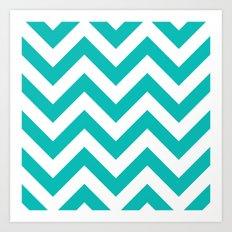 Large chevron pattern / tiffany blue Art Print