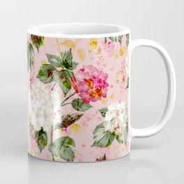 Vintage green pink white bohemian hortensia flowers Coffee Mug