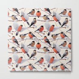 Bullfinches  seamless texture Metal Print