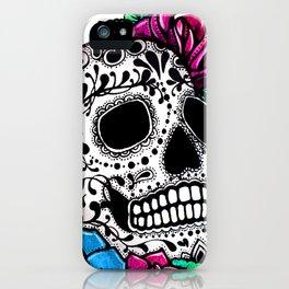 Sugar Skull White background iPhone Case