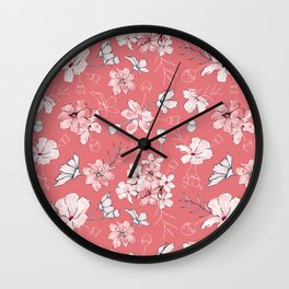 Loose florals on Pink Wall Clock