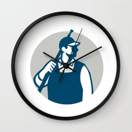 Pressure Washer Worker Circle Retro Wall Clock