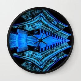Abstract Blue and Black Art, Gyeongbokgung Palace, Seoul, Korea, Oriental Wall Clock