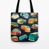 volkswagon Tote Bags featuring Kombi Heaven by Buster Fidez