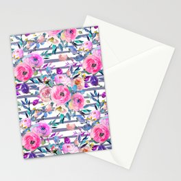 Pink mauve lilac hand painted watercolor roses floral stripes Stationery Cards