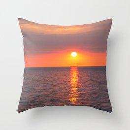 Golden Sun Across Shimmering Water Throw Pillow