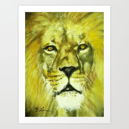 Wildlife Painting Series 2 - Mesmerizing Lion King Art Print