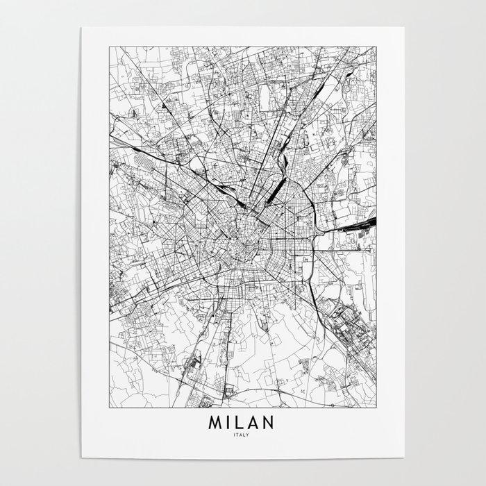 Milan White Map Poster