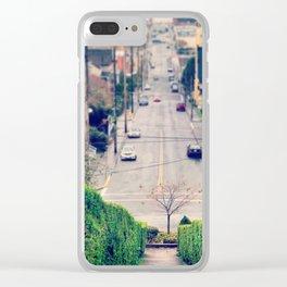 Hillside Hedges Skeleton Tree Winter Astoria Landscape Clear iPhone Case