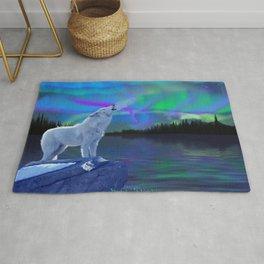 Arctic Prayer - White Wolf and Aurora Rug