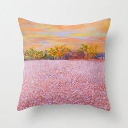 Cotton at Sunset Throw Pillow