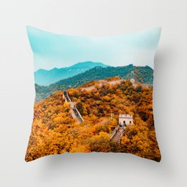 The Great Wall of China in Autumn (Color) Throw Pillow