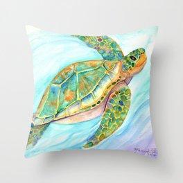 Swimming, Smiling Sea Turtle Throw Pillow