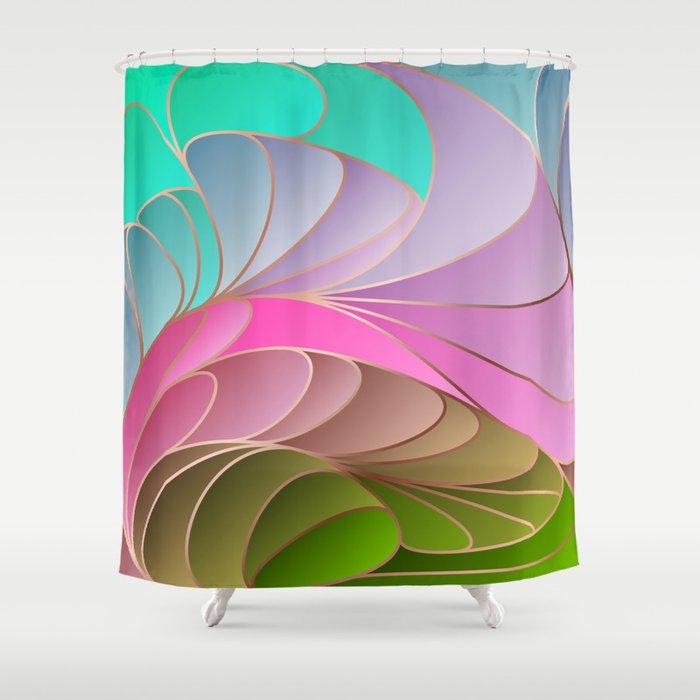 Pink Green Art Nouveau Shower Curtain By Oniks Astarit