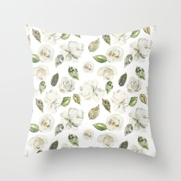 Green brown white watercolor modern floral leaves Throw Pillow