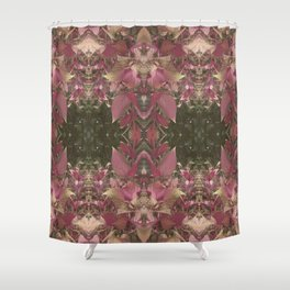 Red Shiso Warm Tones Pattern Shower Curtain