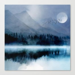 Mountainscape Under The Moonlight Canvas Print