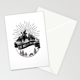 Live Wild And Free - Bushcraft Survival Stationery Cards