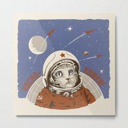 Soviet Space Cat Metal Print