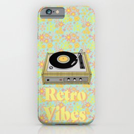 Retro Vibes Record Player Design in Yellow iPhone Case