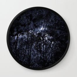 Trees In The Night Light Wall Clock
