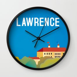 Lawrence, Kansas - Skyline Illustration by Loose Petals Wall Clock