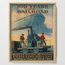 100 years of the railroad baltimore & ohio centenary pageant. 1927 poster Serving Tray