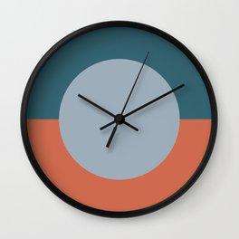 Dotted Half Half Minimalist Geometric in Blue and Clay Wall Clock