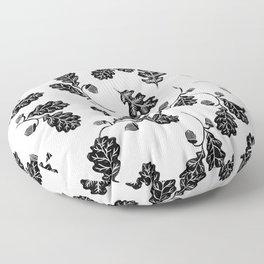 Oak Leaf linocut black and white lino illustration printmaking fall autumn winter home decor minimal Floor Pillow